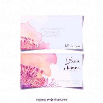 Cartão de visita da aguarela com esboços de flores