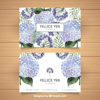 Cartão de visita de aquarela com flores decorativas