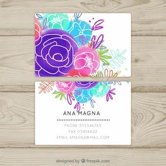 Cartão de visita de cor de água floral