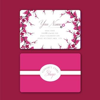 Cartão de visita de flores cor-de-rosa