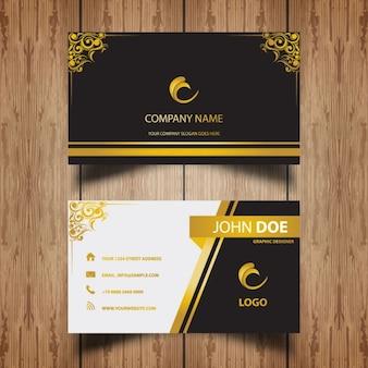 cartão de visita de luxo com quadros ornamento dourado