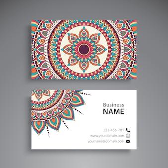 Cartão de visita de mandala floral