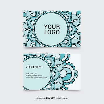 Cartão de visita de mandalas desenhados à mão
