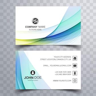 Cartão de visita de ondas coloridas
