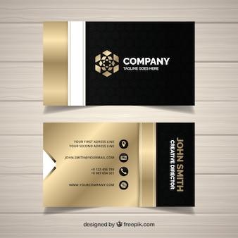 Cartão de visita dourado elegante