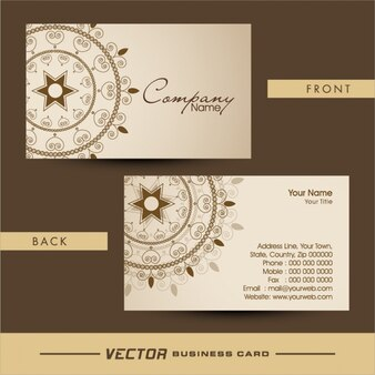 Cartão de visita elegante com decoração ornamental