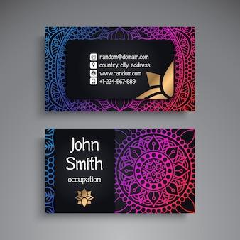 Cartão de visita Elementos decorativos vintage Ornamentais cartões de visita florais Padrão oriental Ilustração vetorial Islão Árabe Dicionário indiano de pakistan turco motivos de otomano