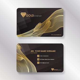Cartão de visita empresarial de ouro com estilo de linha de fumo
