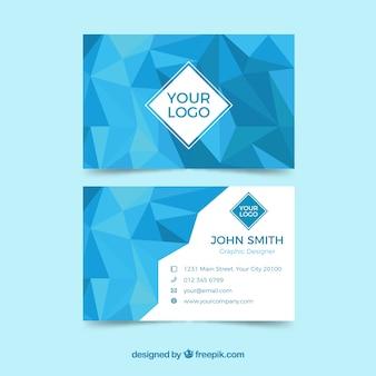 Cartão de visita geométrico azul