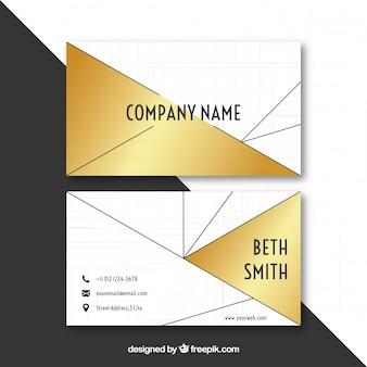 Cartão de visita geométrico dourado
