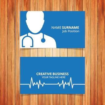 Cartão de visita médico azul escuro