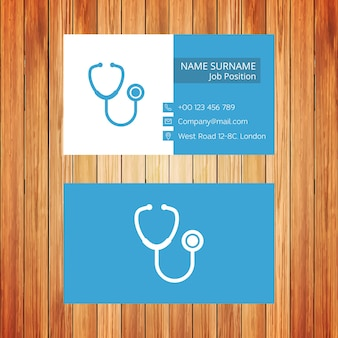 Cartão de visita médico branco e azul