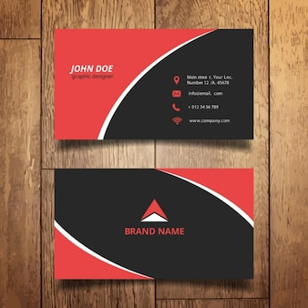 Cartão de visita moderno vermelho e preto