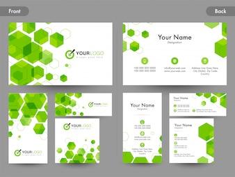 Cartão de visita ou cartão de visita definido com hexágonos verdes.