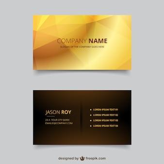 Cartão de visita poligonal em tons dourados e marrons