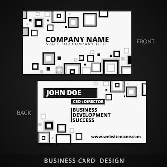 Cartão de visita preto e branco com design quadrado