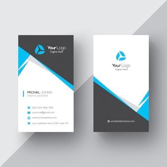 Cartão de visita preto e branco com detalhes azuis