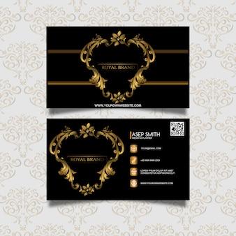 Cartão de visita preto e dourado