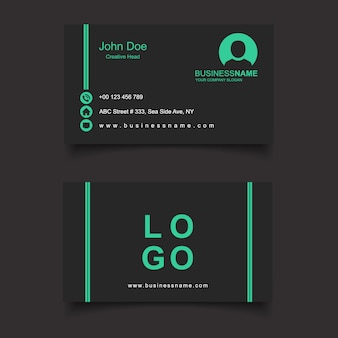 Cartão de visita preto e verde