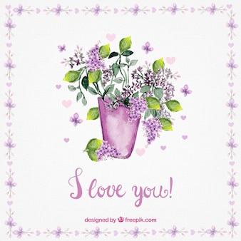 Cartão do amor de vaso com flores da aguarela