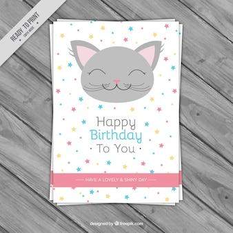 Cartão do aniversário com gato de sorriso