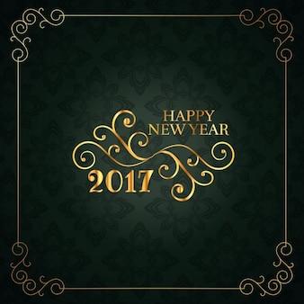 Cartão do ano do vintage do estilo novo feliz com projeto floral
