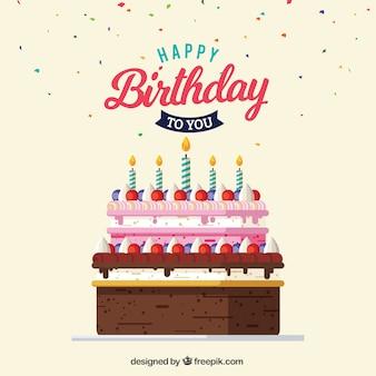 Cartão do bolo de aniversário delicioso