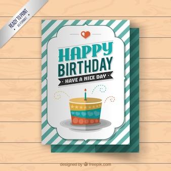 Cartão do bolo de aniversário feliz