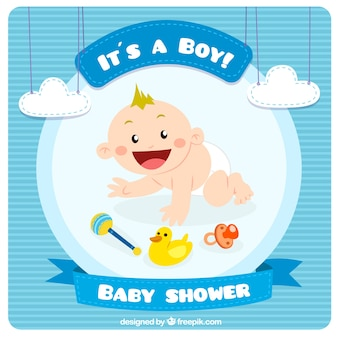 Cartão do chuveiro de bebê azul no estilo bonito