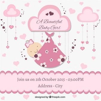 Cartão do chuveiro de bebê bonito em tons rosa