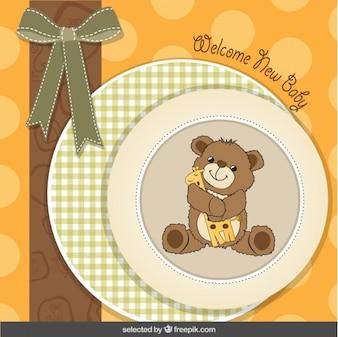 Cartão do chuveiro de bebê com adorável urso de pelúcia