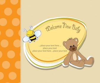 Cartão do chuveiro de bebê com brinquedo do urso de peluche