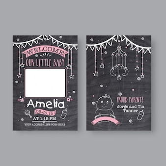 Cartão do chuveiro de bebê com detalhes rosa