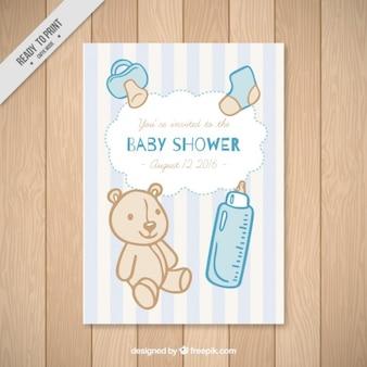 Cartão do chuveiro de bebê com elementos do bebê mão desenhada