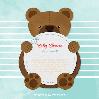 Cartão do chuveiro de bebê com um urso de peluche