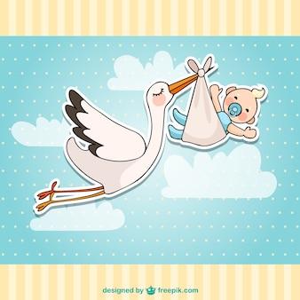 Cartão do chuveiro de bebê com uma cegonha e um bebê
