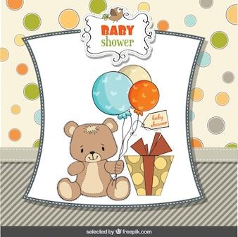 Cartão do chuveiro de bebê com urso de peluche adorável