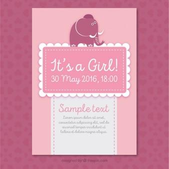Cartão do chuveiro de bebê cor de rosa com um elefante bonito
