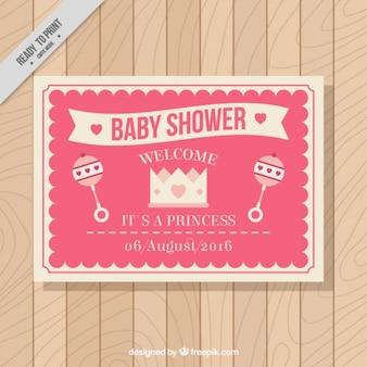 Cartão do chuveiro de bebê do vintage na cor-de-rosa