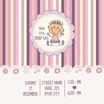 Cartão do chuveiro de bebê menina