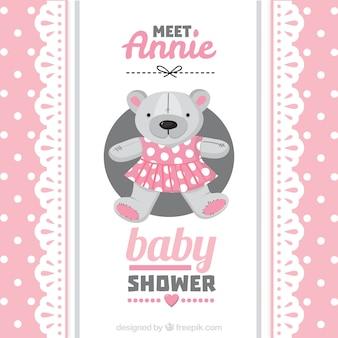 Cartão do chuveiro de bebê rosa com um ursinho de pelúcia