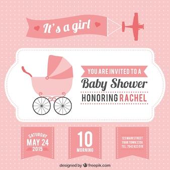 Cartão do chuveiro de bebê rosa para menina