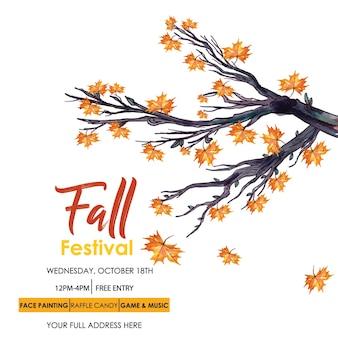 Cartão do convite da aguarela do outono