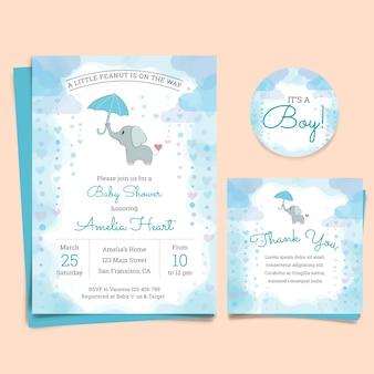 Cartão do convite da festa do bebé com elefante
