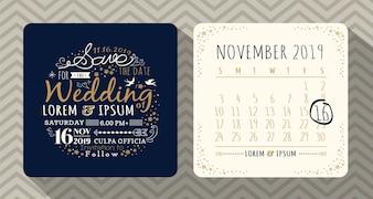 Cartão do convite do casamento da tipografia do vintage