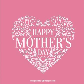 cartão do coração rosa ornamental de dia das mães