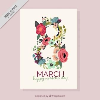 Cartão do dia da mulher Floral