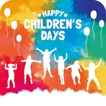 Cartão do dia das crianças coloridas no estilo da aguarela