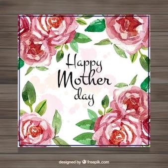 Cartão do dia de mãe bonito com rosas da aguarela