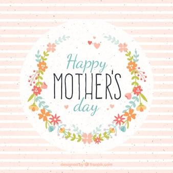 Cartão do dia de mãe com flores e listras